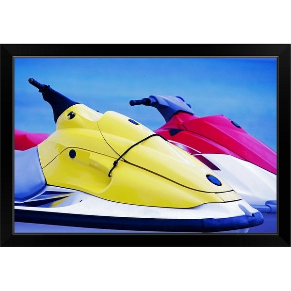 """Close-up of two jet ski's in the sea, South Beach, Miami, Florida, USA"" Black Framed Print"