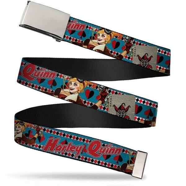 Blank Chrome Buckle Harley Quinn Bombshell Pin Up Pose Joker Card Web Belt