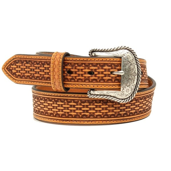 Nocona Western Belt Mens Basketweave Embossed Rope Tan