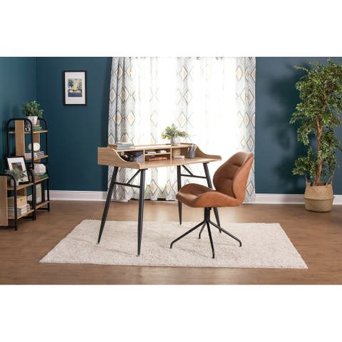 Calico Designs Devonport Brown Faux Leather Padded Swivel Accent Chair With Metal Base
