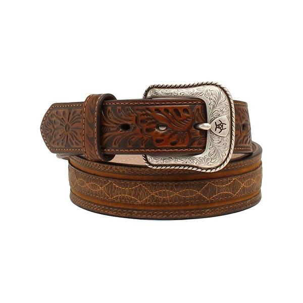 Ariat Western Belt Mens Barbwire Embossed Leather Brown
