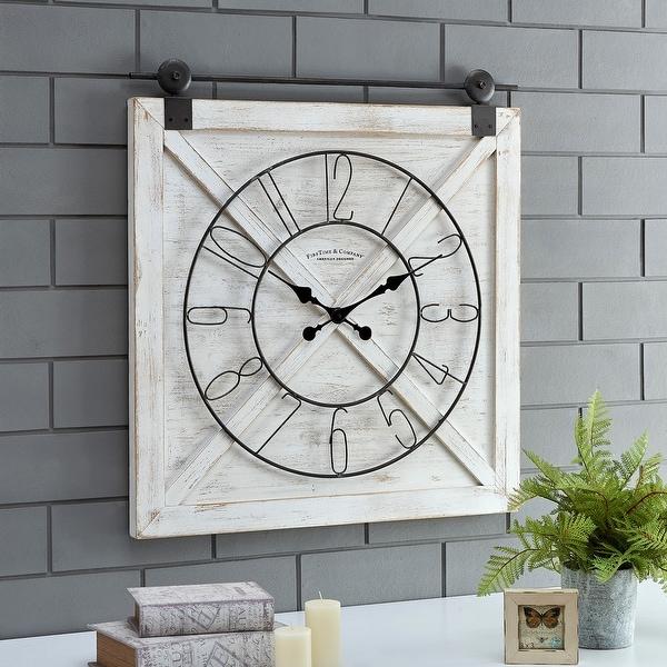Farmstead Fir Wood Barn Door Wall Clock