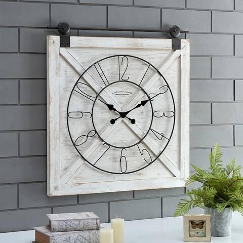 FirsTime & Co.® Farmstead Barn Door Wall Clock, Fir Wood, 27 x 2 x 29 in, American Designed