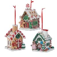 "Pack of 6 Gingerbread Kisses LED Lighted Candy House Christmas Ornaments 3.5"" - brown"