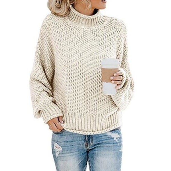 Turtleneck Chunky Knit Pullover Sweater. Opens flyout.