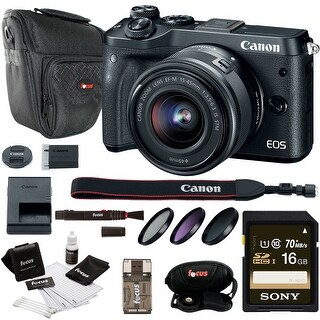 Canon EOS M6 Mirrorless Camera w/ EF-M 15-45mm f/3.5-6.3 IS STM Lens Bundle