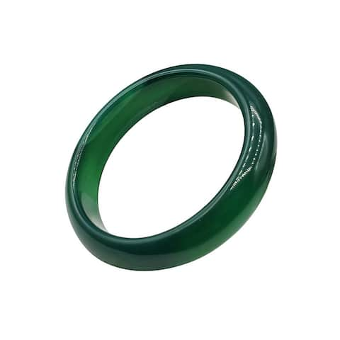 Dark Green Solid Jade Bangle - Wrist Size 6-1/2
