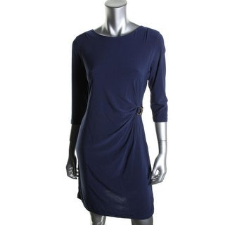 NY Collection Womens Petites Matte Jersey 3/4 Sleeves Wear to Work Dress
