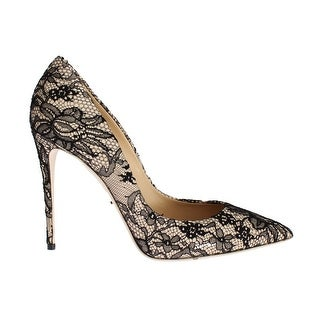 Dolce & Gabbana Beige Leather Black Lace Stiletto Heel Shoes - 39