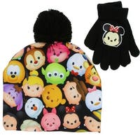 Disney Little Girls Tsum Tsum Sublimated Neoprene Winter Beanie Hat and Glove Set