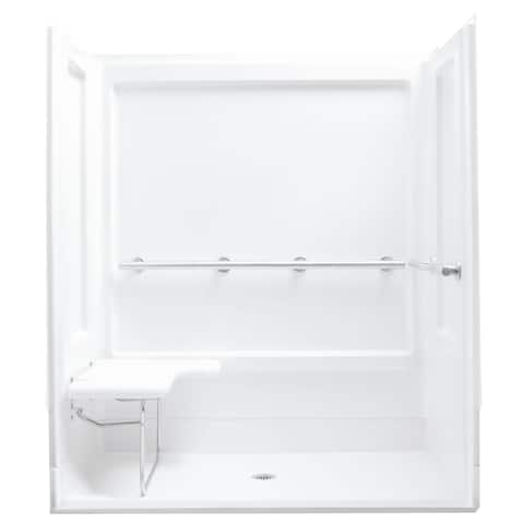 """Sterling 62070125 ADA 63-1/4"""" x 39-3/8"""" x 73-1/4"""" Shower Module with Collapsible Seaton Left, Center Drain, and Grab Bars"""