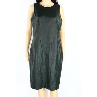Lauren By Ralph Lauren NEW Green Women Size 4 Faux-Leather Sheath Dress