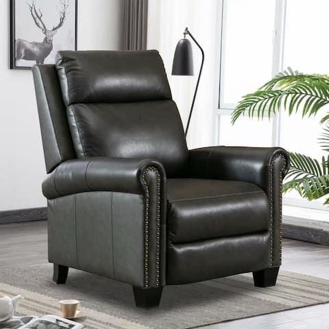 Magic Top Grain Leather Pushback Recliner Club Chair
