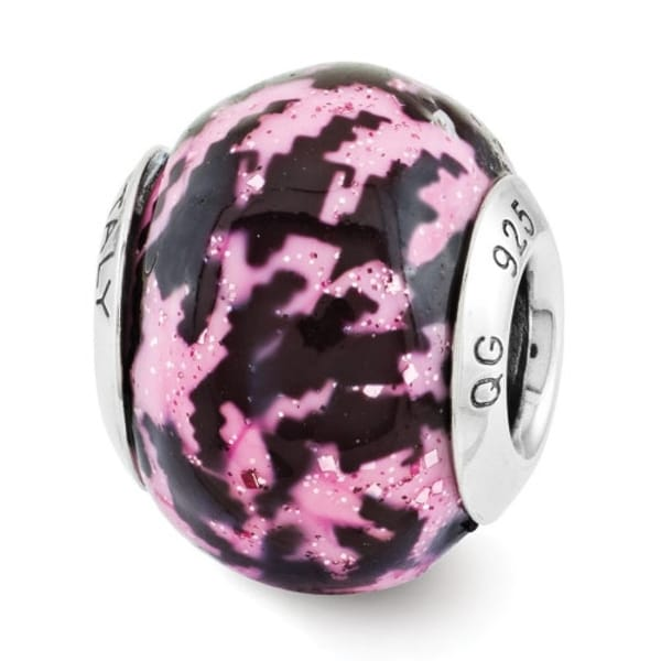 Italian Sterling Silver Reflections Pink & Black Overlay Bead (4mm Diameter Hole)