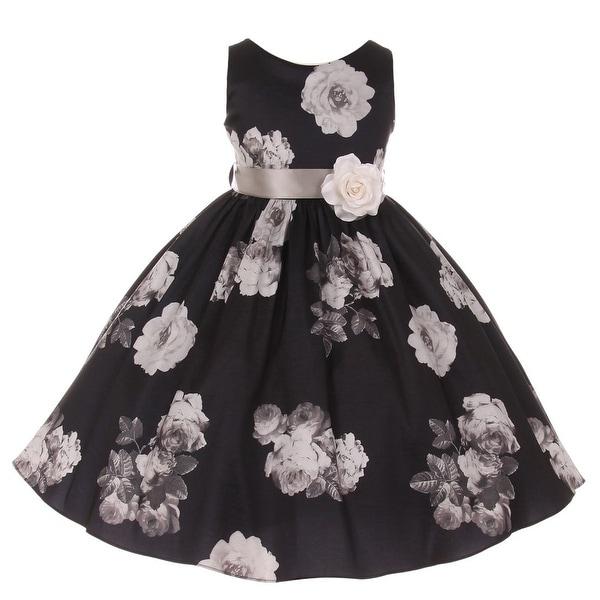 Shop Girls Black Floral Print Corsage Taffeta Flower Girl Dress