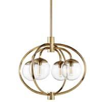 "Craftmade 45524 Piltz 4-Light 22"" Wide Globe Chandelier with Clear Glass Shade - Satin brass"