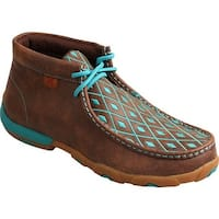 Twisted X Boots Women's Driving Moc Chukka Brown/Turquoise Leather