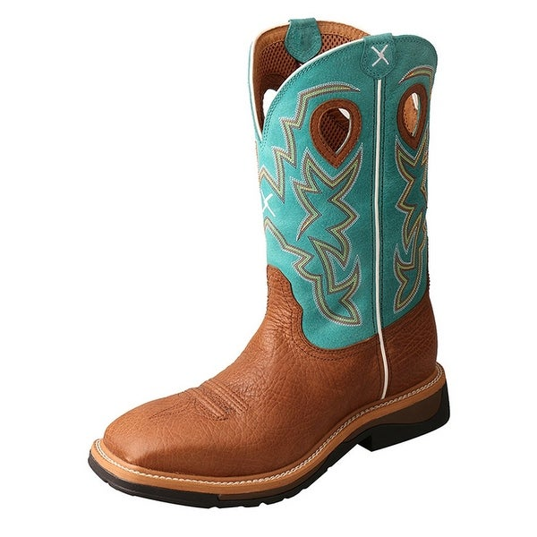 Twisted X Work Boots Mens Steel Toe Rubber Cognac Turquoise