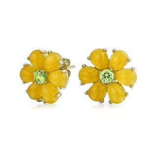 Bling Jewelry Daisy Flower Dyed Peridot August Birthstone Yellow Jade Stud earrings Gold Plated 11mm