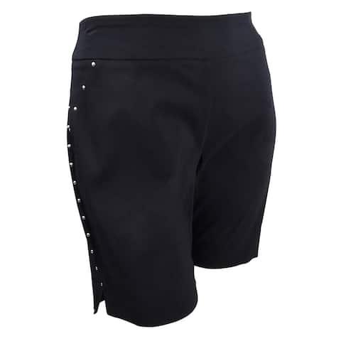 INC International Concepts Women's Curvy-Fit Stud-Trim Shorts (14, Deep Black) - Deep Black - 14