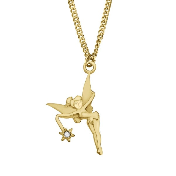 Disney's Tinker Bell Pendant with Diamond in 10K Gold-Plated Sterling Silver