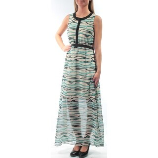 KENSIE $109 Womens New 5542 Blue Printed Tie Jewel Neck Sleeveless Dress XS B+B