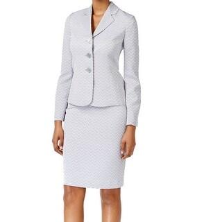 Le Suit NEW Blue Women's Size 10 Three Button Chevron Print Skirt Suit
