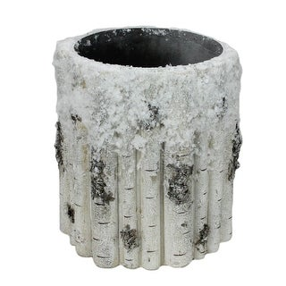 """9"""" Large Snowy Faux Birch Wood Christmas Planter"""
