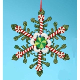 """5.25"""" Peppermint Twist Glittered Green Candy Snowflake Christmas Ornament"""