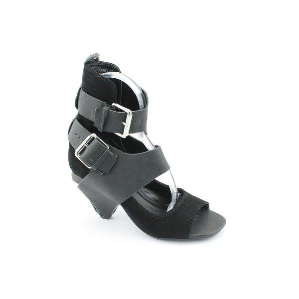 N.Y.L.A. Lorilei Women Open-Toe Leather Black Slingback Heel