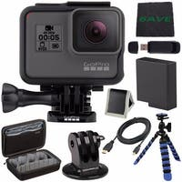 GoPro HERO5 Black CHDHX-501 + Replacement Lithium Ion Battery For GoPro Hero5 + Micro HDMI Cable Tripod Adapter For GoPro Bundle