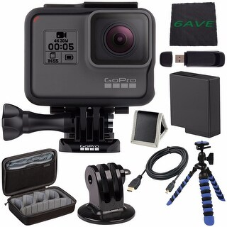 GoPro HERO5 Black CHDHX-501 + Replacement Lithium Ion Battery For GoPro Hero5 Case for GoPro HERO4 and GoPro Accessories Bundle
