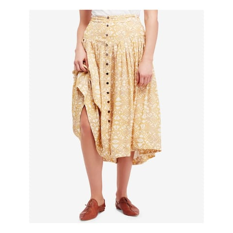 FREE PEOPLE Womens Yellow Printed Maxi Skirt Size 0