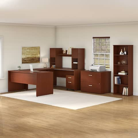 Commerce 60W U Shaped Desk with Hutch and Storage by Bush Furniture
