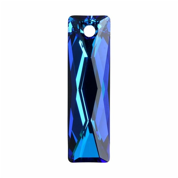 Swarovski Crystal, 6465 Queen Baguette Pendant 25x7mm, 1 Piece, Crystal Bermuda Blue P