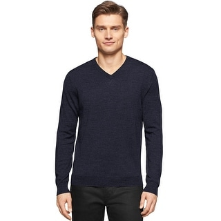 Calvin Klein Big and Tall Extra Fine Merino Wool V-Neck Sweater Navy 2XLT