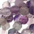 Purple & White Fluorite 6mm Round Faceted Gemstone Bead 15.5 Inch Strand - Thumbnail 0