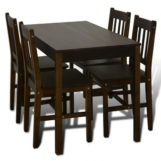 Link to vidaXL Wooden Dining Table with 4 Chairs Brown Similar Items in Dining Room & Bar Furniture