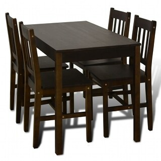 vidaXL Wooden Dining Table with 4 Chairs Brown