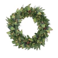 Pre-Lit Mixed Winter Pine Artificial Christmas Wreath - 30 Inch, Clear Lights - green