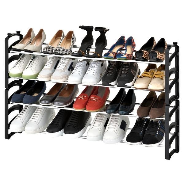 Seville Classics 20-Pair 4-Tier Expandable Stackable Shoe Rack Organizer. Opens flyout.