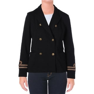 Denim & Supply Ralph Lauren Womens Military Jacket French Terry Double-Breasted - l