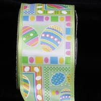 """Colorful Easter Eggs Print Green Wired Craft Ribbon 2.5"""" x 40 Yards"""