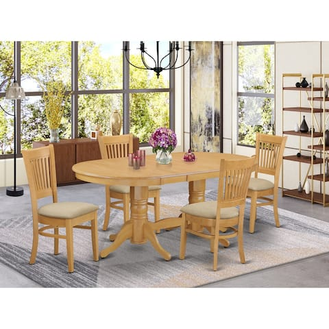 5 Pc Set - Dining Table with Leaf and 4 Chairs in Oak Finish