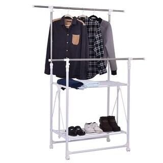 Costway Double Rail Garment Rack Folding Adjustable Rolling Clothes Hanger w/ 2 Shelves