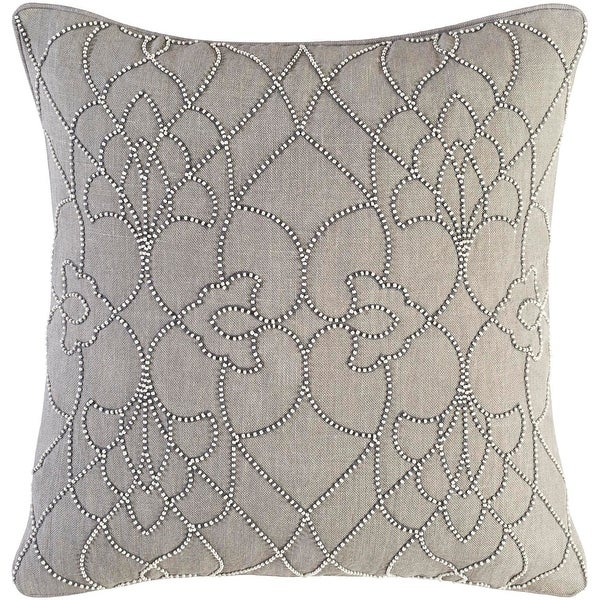 "22"" Haze Gray and Frosted White Modish Western Woven Decorative Throw Pillow - Down Filler"
