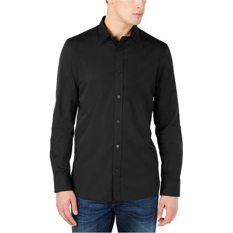 Calvin Klein Mens Cotton Cashmere Button Up Shirt, Black, X-Large