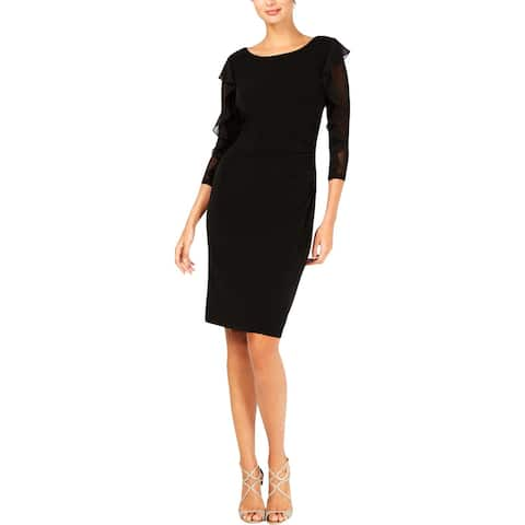 Connected Apparel Womens Wear to Work Dress Ruffled Elbow Sleeves