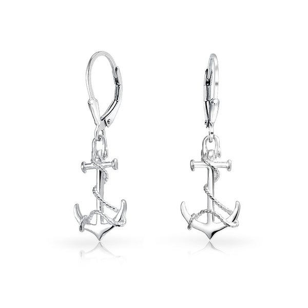 d8405f9ab Shop Tropical Nautical Leverback Boat Anchor Rope Drop Dangle Earrings For  Women 925 Sterling Silver - On Sale - Free Shipping On Orders Over $45 ...