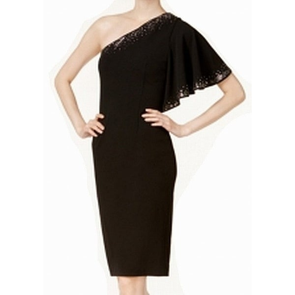 c1252576 Shop Calvin Klein Black Womens Size 4P Petite One-Shoulder Sheath ...